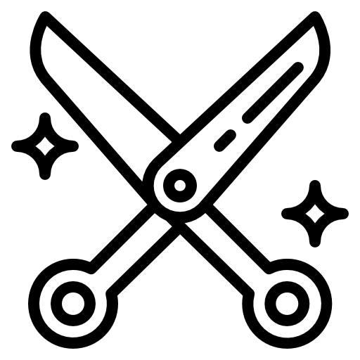An icon depicting a some scissors.