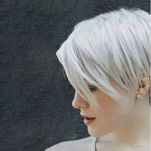 girl with short white hair